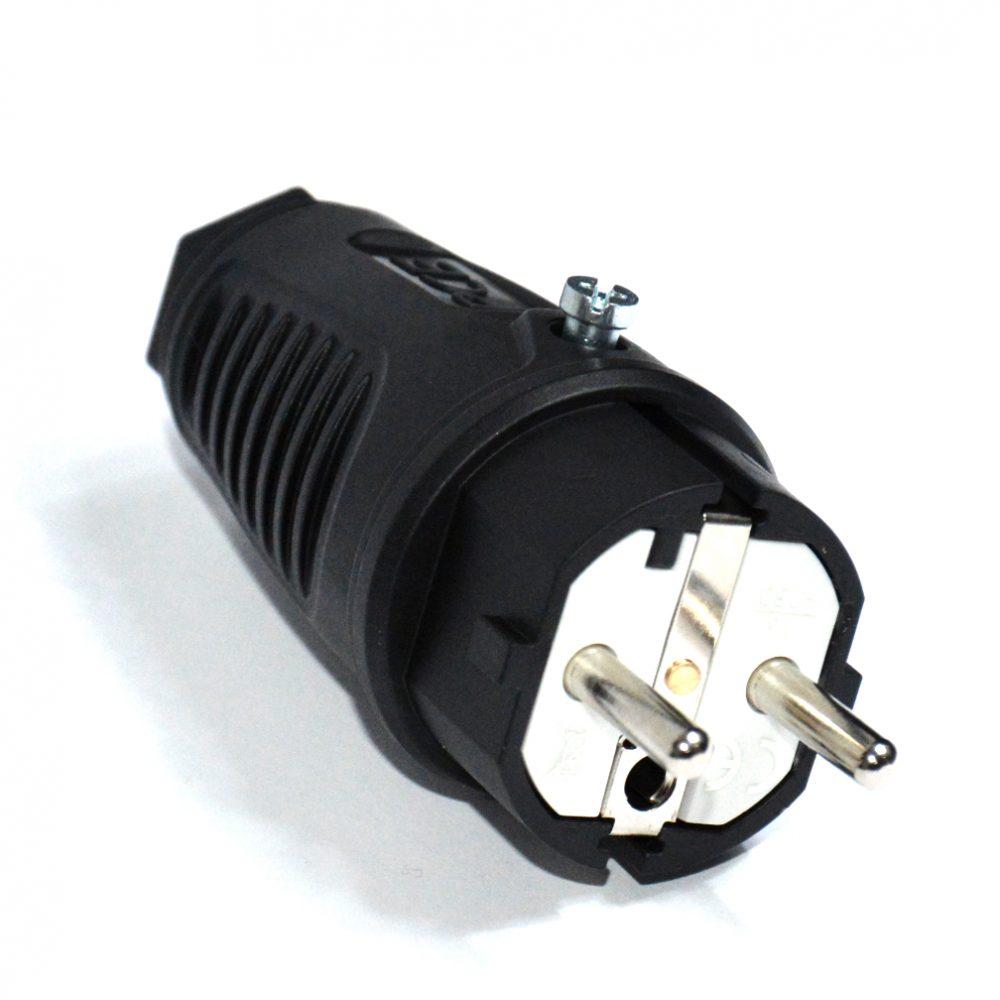 PCE Wtyczka sieciowa 250V 16A IP44 gumowe UniSchuko 0521-s