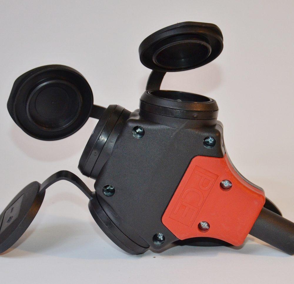 Przedłużacz gumowy H07BQ-F 3×2,5mm2 15m niebieski rozgałęźnik 3+1